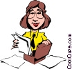 Vector Clip Art graphic  of a Cartoon woman with briefcase