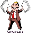 Vector Clip Art picture  of a Cartoon man with papers