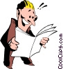Vector Clipart image  of a Cartoon man with papers