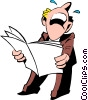 Cartoon man reading papers Vector Clipart picture