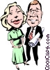 Cartoon man & woman Vector Clipart illustration