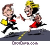 Cartoon man & woman track & field Vector Clip Art graphic