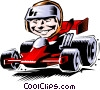 Vector Clipart picture  of a Cartoon racecar driver