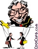 Vector Clip Art graphic  of a Cartoon man with puppets