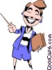 Vector Clip Art image  of a Cartoon woman with pointer
