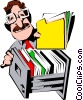 Cartoon man with folder Vector Clipart image