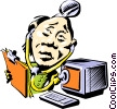Cartoon computer technician Vector Clip Art picture
