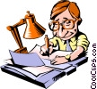 Vector Clipart illustration  of a Cartoon man with paperwork