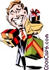 Cartoon man with gifts Vector Clipart illustration