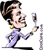 Vector Clipart graphic  of a Cartoon woman toasting