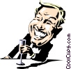 Cartoon man toasting Vector Clipart illustration