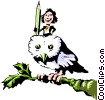 Vector Clip Art graphic  of a Cartoon owl