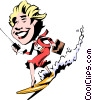 Vector Clipart graphic  of a Cartoon surfer