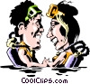 Man & woman scuba divers Vector Clip Art graphic