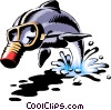 Dolphin with gas mask Vector Clip Art picture