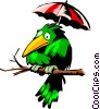 Bird protecting itself from acid rain Vector Clip Art graphic