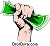 Vector Clipart graphic  of a Fist full of money