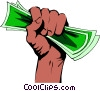 Vector Clip Art image  of a Fist full of dollars