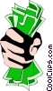 Vector Clip Art graphic  of a Fist full of dollars