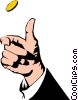 Vector Clipart picture  of a Hand tossing a coin
