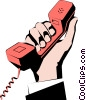 Vector Clip Art graphic  of a Hands holding phone
