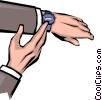 Hands checking the time Vector Clipart graphic
