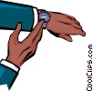 Hands checking time Vector Clipart graphic