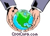 Hands holding globe Vector Clipart graphic