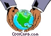Hands holding globe Vector Clipart illustration