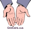 Open hands Vector Clipart graphic