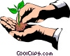 hands with seedling Vector Clip Art image