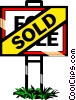Vector Clip Art graphic  of a Real estate - Sold sign