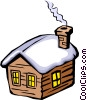 House in Winter Vector Clipart illustration