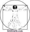 Leonardo da Vinci's Canon of Proportions Vitruvian Man Vector Clipart illustration