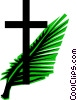 Cross & palm branches Vector Clip Art picture