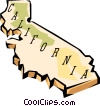California state map Vector Clipart illustration