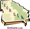 Georgia state map Vector Clipart illustration