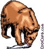 Vector Clipart image  of a Grizzly bear eating a salmon