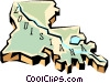 Louisiana state map Vector Clipart picture