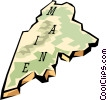 Vector Clip Art picture  of a Maine state map
