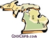 Vector Clip Art graphic  of a Michigan state map