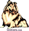 Vector Clip Art image  of a Collie