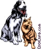 Vector Clip Art graphic  of a Dog & Cat
