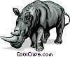 Vector Clip Art graphic  of a Rhinoceros