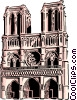 Vector Clipart graphic  of a Notre Dame Cathedral