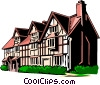 English country home Vector Clipart picture