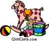 Vector Clip Art image  of a Children's toys