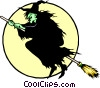 Vector Clip Art graphic  of a Witch on a broomstick