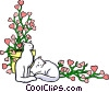 Floral background with cats Vector Clipart graphic
