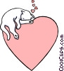 Valentine heart with cat Vector Clip Art image